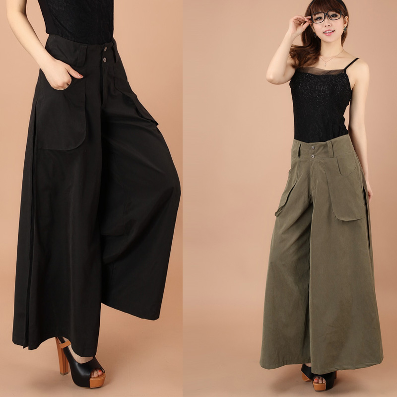 US $26.99 |Plus size 2015 Summer Women Wide Leg Loose Linen Dress Pants  Female Casual Skirt Trousers Capris Culottes-in Pants & Capris from Women\'s  ...