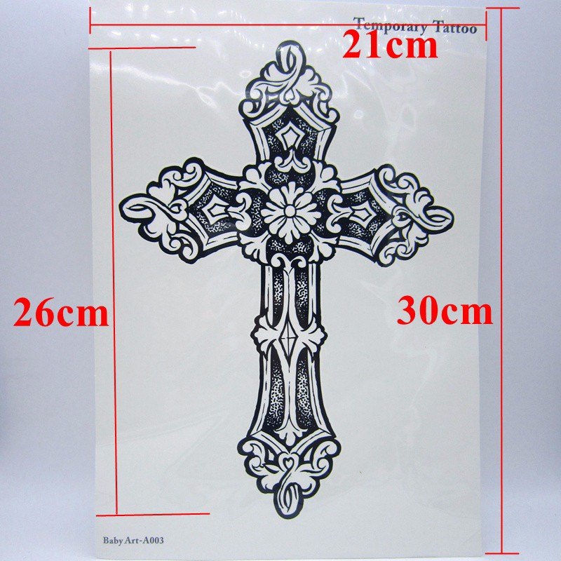 1pcs Big Cool Mens Cross Tattoos,Beautiful Arm Back Cross Waterproof Large Temporary Tattoo Stickers For Men 30*21cm 2