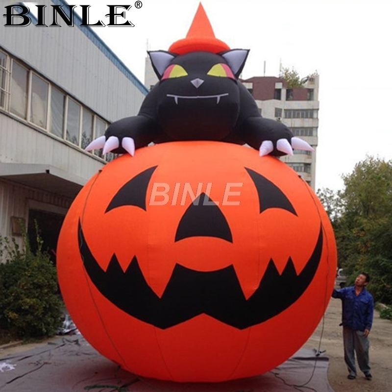 2018 Newly halloween decoration giant inflatable pumpkin with black cat for outdoor event halloween creativity 3d stereotophora pumpkin window decoration wall stickers