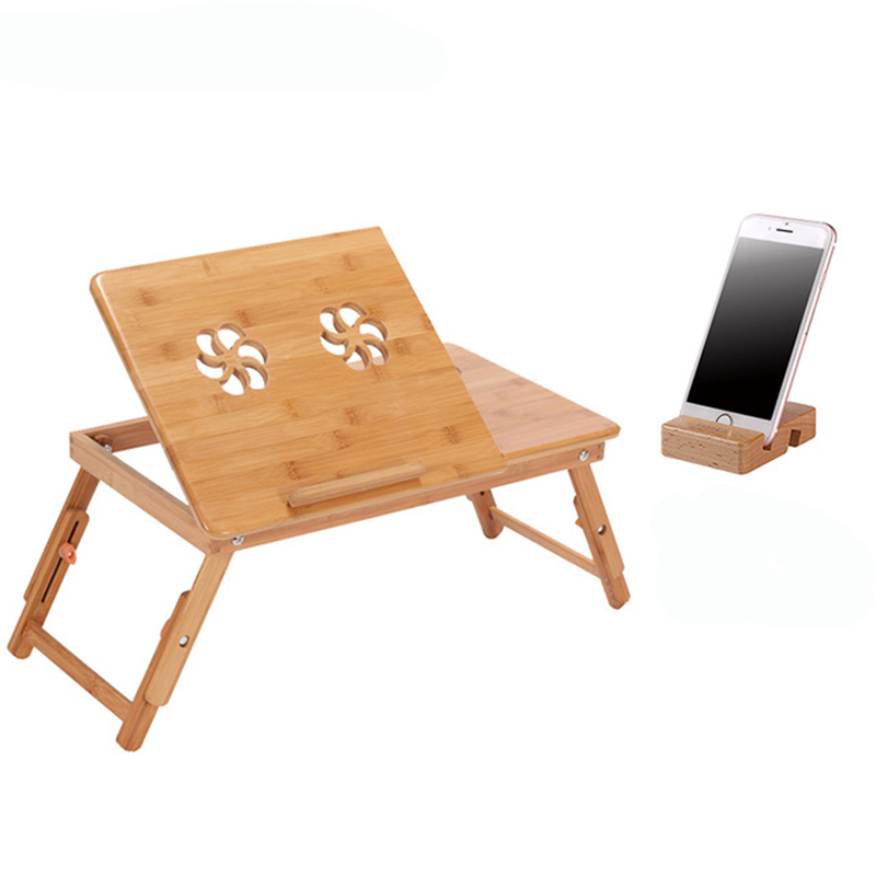 Ergonomics Adjustable Laptop Desk Bamboo Table Foldable Breakfast Serving Bed Tray Cozy On Sale Computer Desk Russia Stock