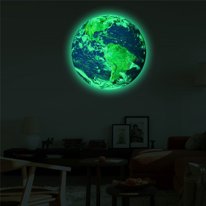 Image 2 - 20cm 3D Large Moon Fluorescent Wall Sticker Removable Glow In The Dark Sticker Children's Bedroom Wall Decor 2019-in Wall Stickers from Home & Garden