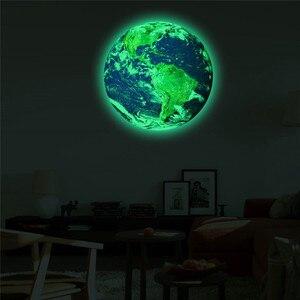 Image 2 - 20cm 3D grande lune Fluorescent autocollant mural amovible lueur dans le noir autocollant chambre denfants décoration murale 2019