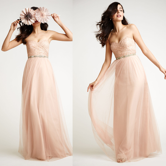 Modern Peach Color Plus Size Lace Floor Length Bridesmaid Dresses Maid Of Honor With Belt