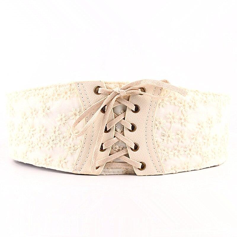 Yalabovso 2017 New arrivals European Wide Waist Belt PU Lace White black brown color patchwork Elastic Waist belt for woman Z15