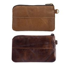 Fashion Women Men Leather Coin Purse Card Wallet Clutch Zipper Small Change Bag Coffee/Brown women genuine leather simple zip wallet men cellphone mobile bag fashion casual purse checkbook coin change bill money clutch