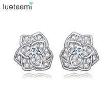 LUOTEEMI Trendy Statement Rose Flower Cubic Zircon Champagne Gold Plated Stud Earrings For Women Luxury Brincos