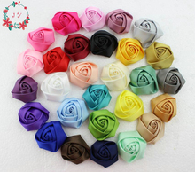 100pcs/lot 45-50mm satin rolled rosette rose handmade flower for hair ornaments,garments DIY accessory(pink,lavender,red,coffee)