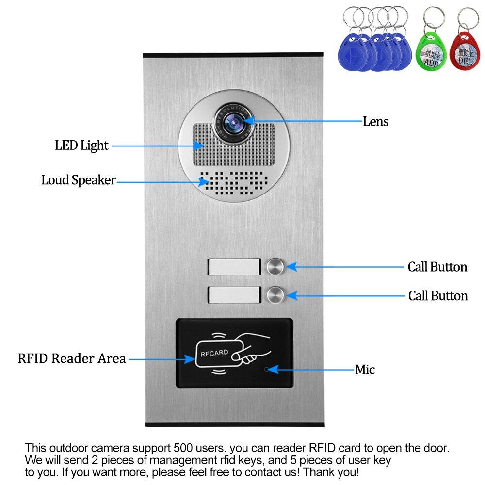 有線ホーム 4.3 インチ TFT ビデオインターホンドアベルシステム RFID カメラと 2/3/4 のためのモニタードアホンマルチアパート EM キーロック解除  グループ上の セキュリティ & プロテクション からの ビデオインターホン の中 3