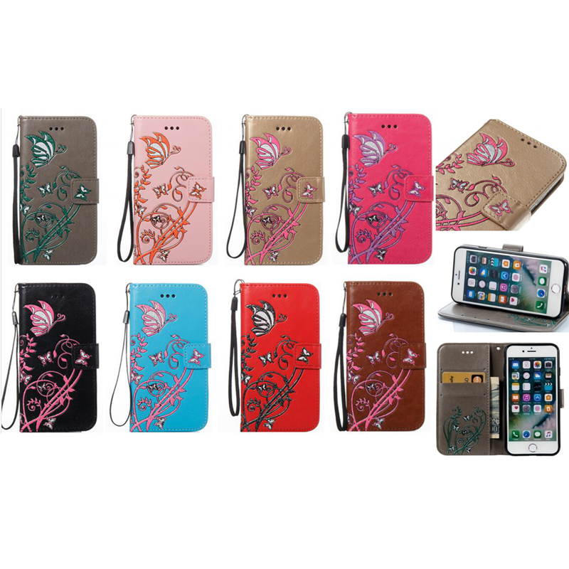 Butterfly Leather Phone Case For IPhone 5 5S 6S 7 8 x Puls Doogee Back Cover Flip Shell Wallet Stand