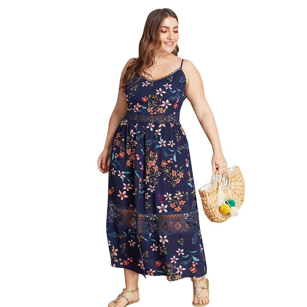 Summer Big Size Dresses for Women Super Size Bohemian Lace Slim Floral Beach Long Dress Ladies Strap Oversize Plump Beach Hot in Dresses from Women 39 s Clothing