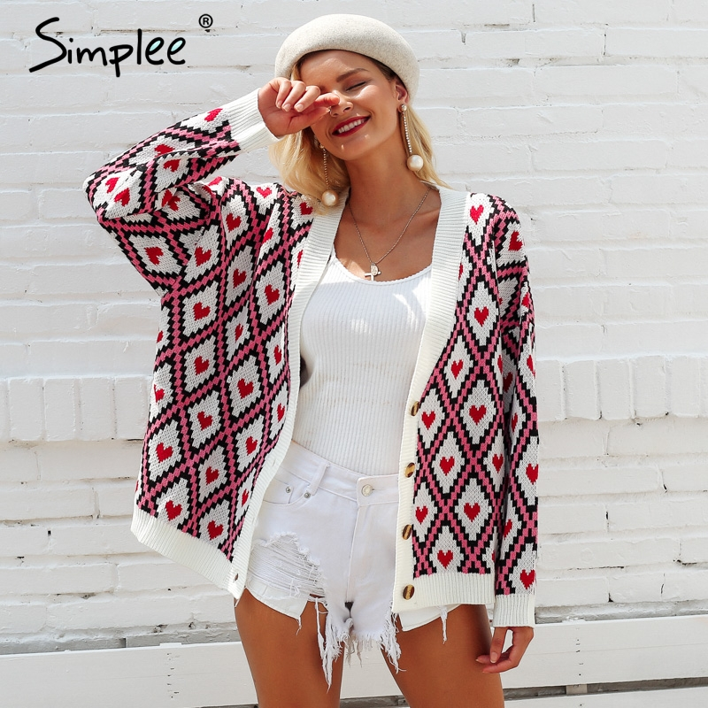 Tops E 2018 Mujeres Chaqueta Punto Jersey Breasted Mujer Damas Otoño De Simplee Impresión Print1 Casual print2 Único Las Invierno Corazón Suéter PqOWxU4