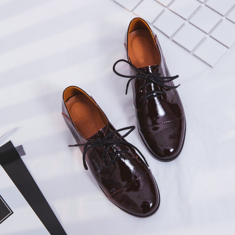 Mulheres Flats 2019 Couro Genuíno Estilo Britânico Sapatos Oxford Mulheres Oxfords Primavera Calcanhar Plana Sapatos Casuais Rendas Até As Mulheres Sapatos - 4
