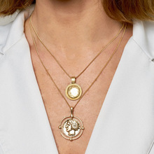 10pcs New Fashion pendant necklace bohemian female double-layer retro gold carved coin For women jewelry