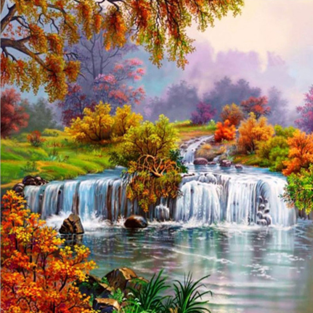 New 3d Diamond Embroidery Waterfall Diamond Painting Landscape