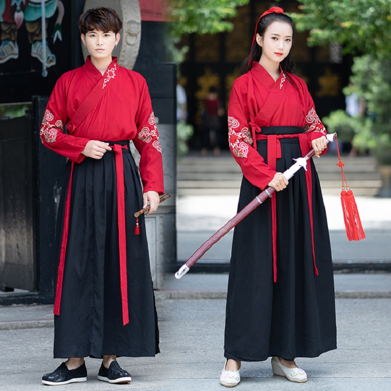 Women Traditional Chinese Hanfu Classical Dance Clothes Red Tops Black Skirts Ancient -6843
