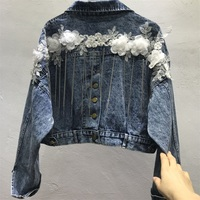 2019 spring new denim jacket women embroidery heavy work chain dotted flowers loose tassel short jeans coat