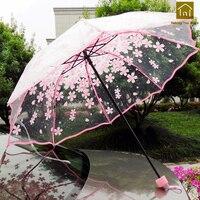 Princess Long Handle High Quality Transparent Rain Umbrella Women Cute Parapluie Femme Men Folding Umbrella Mini Tools QKW146