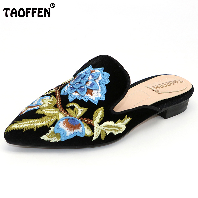 TAOFFEN Size 32-43 Ladies Real Leather Flats Sandals Women Embroidery Pointed Toe Slipper Print Party Vacation Lady Footwear women ladies flats vintage pu leather loafers pointed toe silver metal design