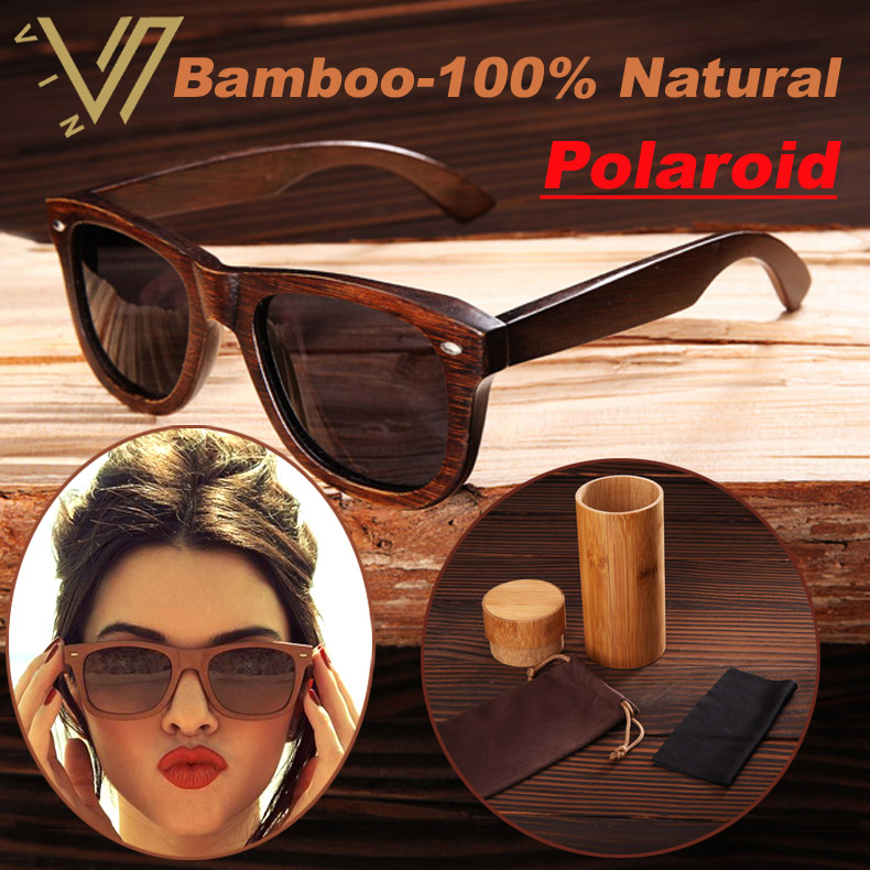 100% Real Top Bamboo Wood Wooden Sunglasses Polarized Handmade Wood Mens Sunglass Sun glasses Men Gafas Oculos De Sol Madera