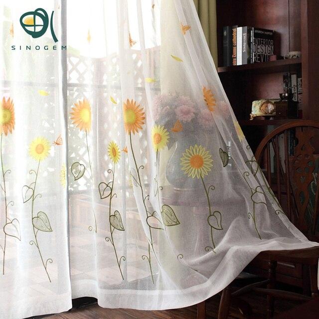 Sinogem Koreanische Sonnenblumen Bestickt Voile Vorhänge Leinen ...