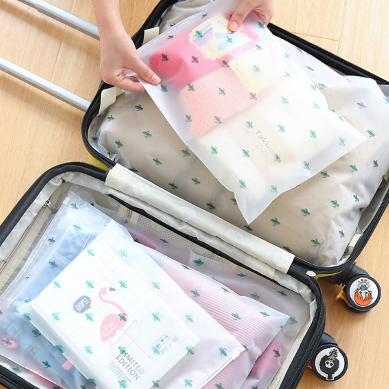 5 PCS Waterproof And Sealed Storage Bags Travel Bag Underwear Bra Socks Shoes Travel Organizer Transparent Self Sealing Bag
