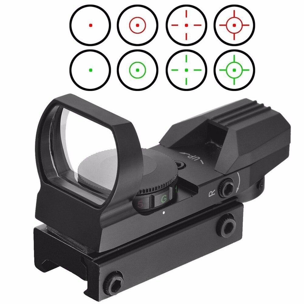20mm Schiene Zielfernrohr Jagd Airsoft Optics Scope Holographic Red Dot Sight Reflex 4 Absehen Tactical Gun Zubehör Schwarz