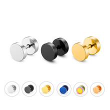 2 Piece Fashion Punk Earrings Double Sided Round Bolt Stud Earrings Male Gothic Barbell Black Earrings Men women Jewelry Gifts(China)