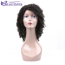Beaudiva Curly Lace Front Human Hair Wigs For Black Women Brazilian Virgin Hair Natural Black Human Hair Wigs Free Shipping