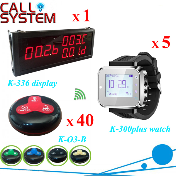 Restaurant Wireless Table Bell System 1 counter monitor 5 wrist watch pager 40 button 3-key(Call;Bill;Cancel) service call bell pager system 4pcs of wrist watch receiver and 20pcs table buzzer button with single key