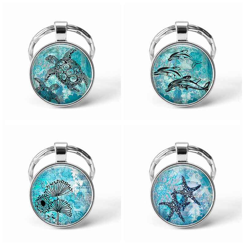 Sea Turtles Starfish Glass Cabochon Key Chains Jewelry Gift Dolphin Dandelion Thistles Key Chain Key Ring