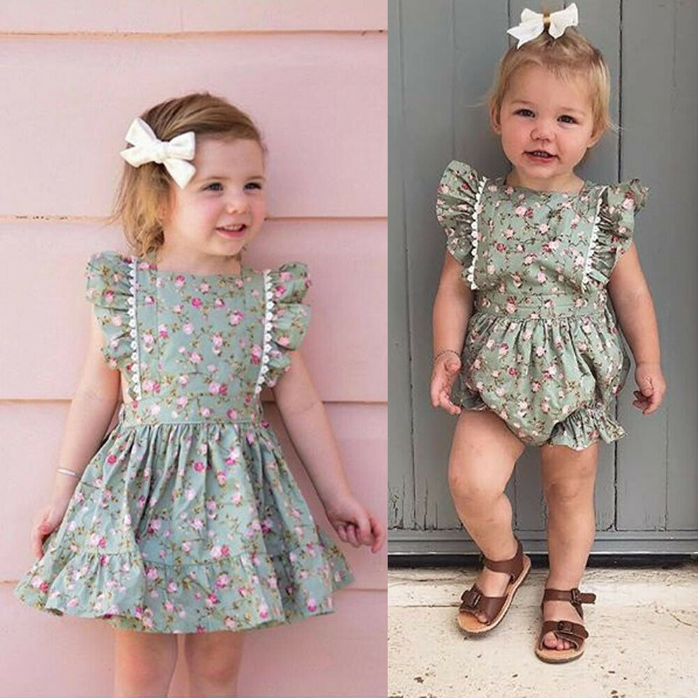 Little Sister And Big Sister Matching Floral Dress And Romper