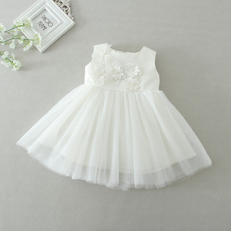 Newborn Baby Girl Christening Gowns 1st Birthday Princess Party Tutu White Wedding Dress Infant Dresses 0-24 Months clothing стоимость