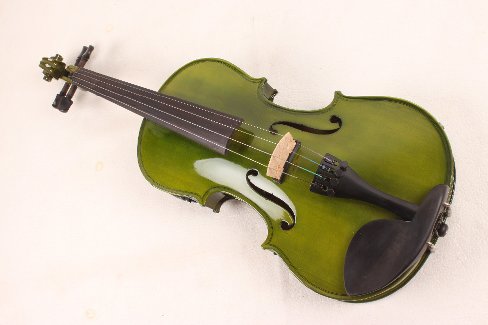 4 String 4/4 New Electric Acoustic Violin dark green color #1 2541#