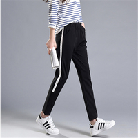 Summer New Loose Skinny Plus Size M 2XL Harem Pants Leisure White Bar Side Stripe Trousers