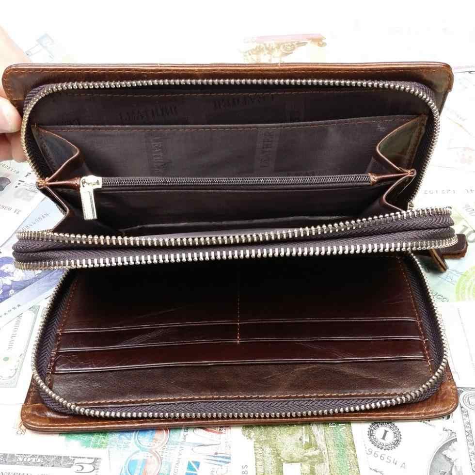 Мужской бумажник для нескольких карт из натуральной кожи, двойной длинный кошелек на молнии, Повседневный Кошелек, тканый клатч