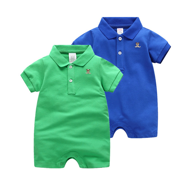 3bbe785507ba 2019 Summer Jumpsuit infant costume Short rompers cotton polo ...