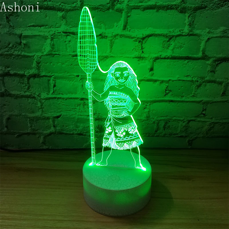 3D Table Lamp Moana Maui Figure LED Night Light 7 Colors Changing Bedroom Sleep Lighting Home Decor Kids Gifts Toy in LED Night Lights from Lights Lighting