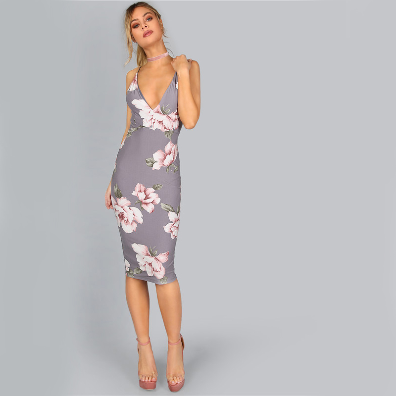 COLROVIE Bodycon Party Dress Women Grey Floral Sexy Backless Slip Summer Dresses 17 Fashion Plunge Neck Elegant Midi Dress 12