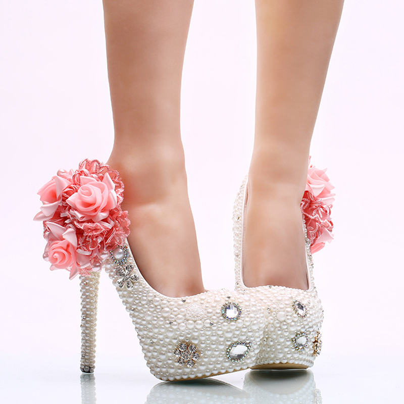 Nice White Pearl Wedding Shoes With Pink Appliques Bride High Heel Shoes  Handicraft Women Party Prom Shoes Plus Size 11 And 12 In Womenu0027s Pumps From  Shoes On ...