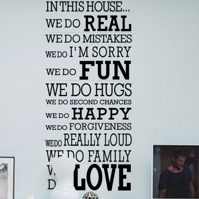 english quotes bahagia keluarga di rumah ini aturan vinyl dinding