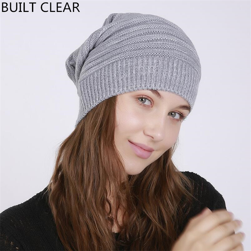 Skullies Female 2017 autumn and winter new folds flanging blending mantle hat outdoor knitting wool hat winter hat wholesale skullies