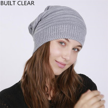 Skullies Female 2017 autumn and winter new folds flanging blending mantle hat outdoor knitting wool hat winter hat wholesale
