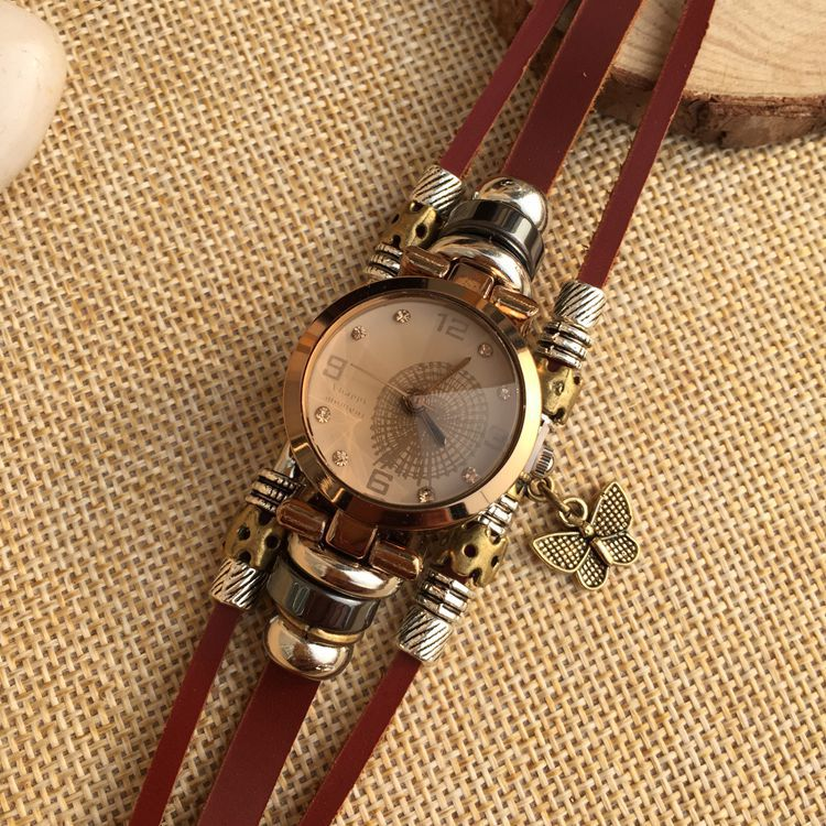 New fashion women watches Full handmade watch diamond Quartz genuine leather Strap High Quality Dress Retro Watches in Women 39 s Watches from Watches