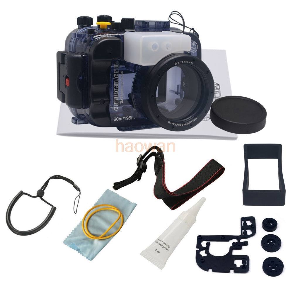 купить 60m diving Waterproof Underwater Housing Camera bag Case protector for Sony a6000 A6300 a6500 16-50mm Lens по цене 23799.13 рублей