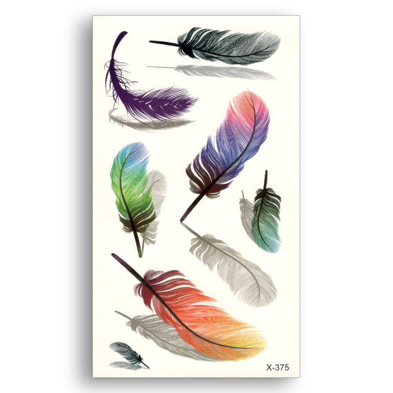 Colored Feather Water Transfer Fake Tattoo Disposable Waterproof Temporary Stickers Beauty Women Girl Sexy Body Art Makeup