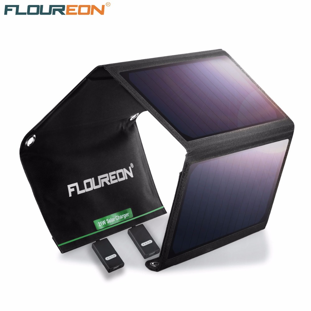 FLOUREON 21W Solar Panel with Dual USB Port Waterproof Foldable Solar Charger for Smartphones Tablets and Camping Travel