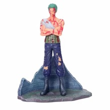 купить 23CM Anime One Piece Roronoa Zoro Battle Damage Ver Figurine Dolls Toys PVC Action Figure дешево