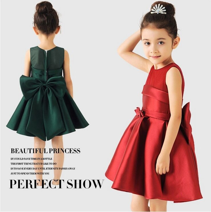 New Arrival Princess Style Bowknot   Flower     Girl     Dress  /Performance   Dress  /  Girl   Party   Dress   971