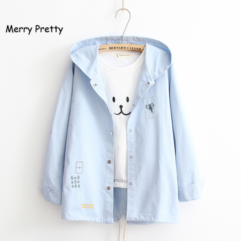 Merry Pretty Casual Spring Autumn Sweet Jacket Women Cartoon Embroidery Solid Outerwear Female Hooded Basic Thin Coat For Girls