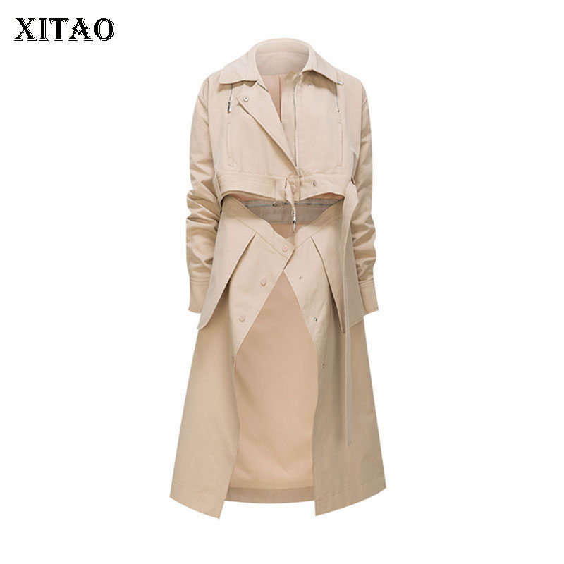 [XITAO] Europe Fashion New Women 2019 Spring Summer Irregular Solid Color Turn-down Collar Pocket Casual Long   Trench   DLL2927
